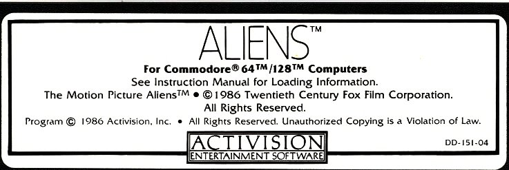 c64 disk label - aliens