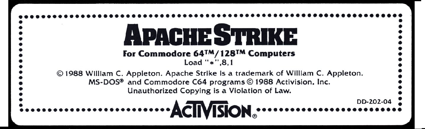 c64 disk label - apache strike