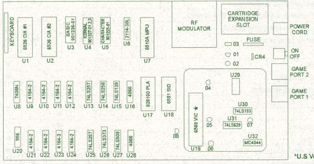 C64 Board reference to all U-chips
